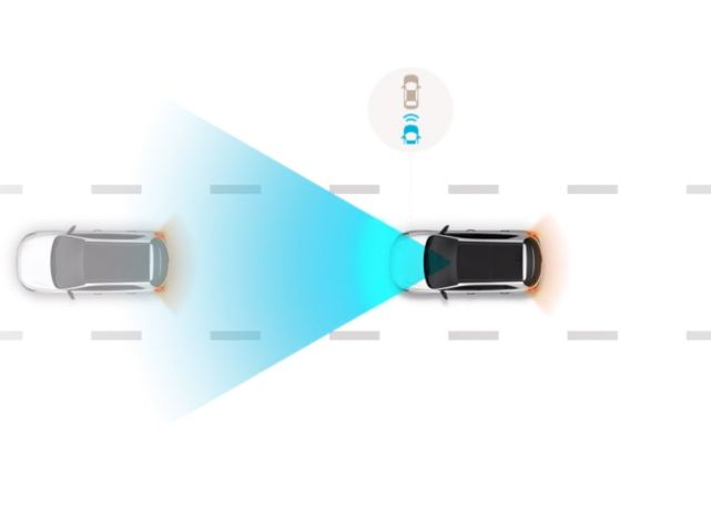 illustration, depicting the Hyundai SmartSense Leading vehicle departure alert feature